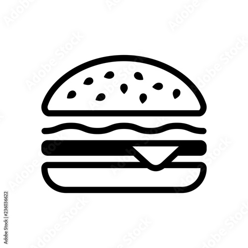 Photo Hamburger icon. Fast food. Linear outline symbol. Black icon on