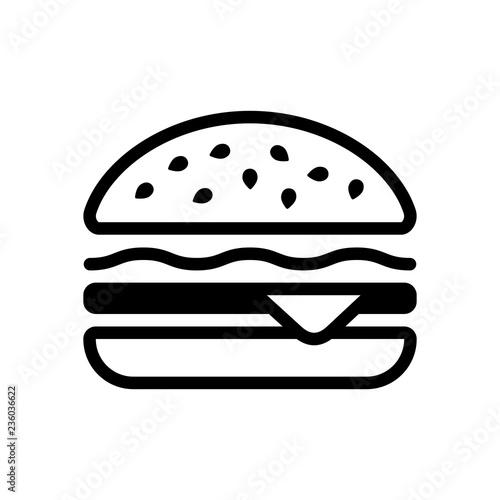Obraz na plátne Hamburger icon. Fast food. Linear outline symbol. Black icon on