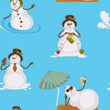 Snowman Sunbathing On Beach Ly...