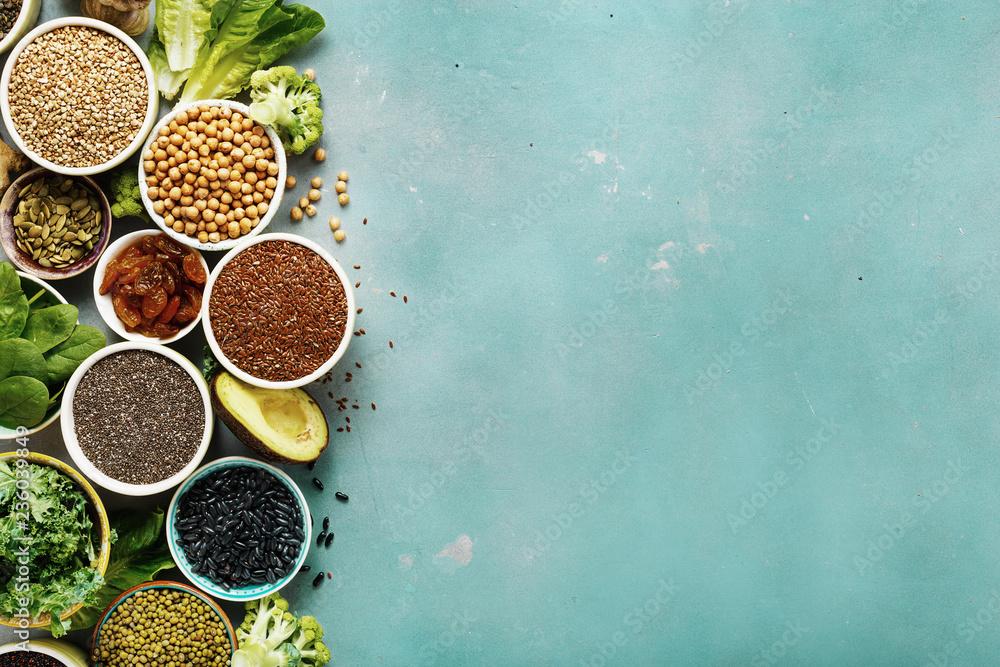 Fototapety, obrazy: Set healthy vegan vegetarian food background copy space Diet eating