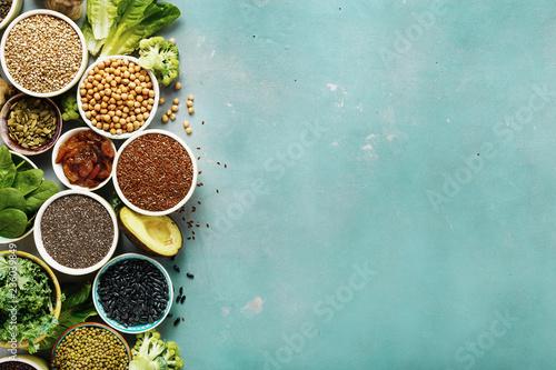 Set healthy vegan vegetarian food background copy space Diet eating