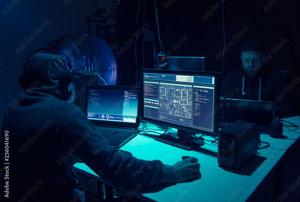 Fototapeta Hackers making cryptocurrency fraud using virus software and computer interface. Blockchain cyberattack, ddos and malware concept. Underground background.