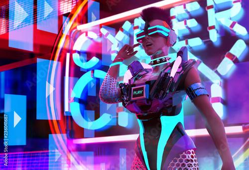 Plakat Neonowy garnitur Cyber Girl.