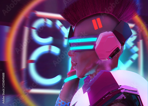 Sci-fi cyber robot punk girl in armor suit portrait profile. Fototapete