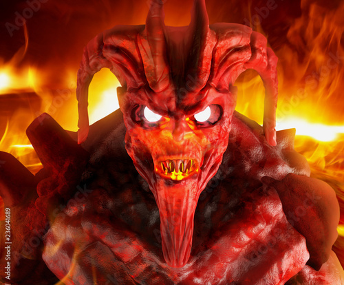 Demon fire face close up. Wallpaper Mural