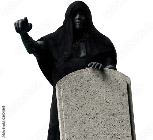 Photo  Grim reaper in black hood isolated.