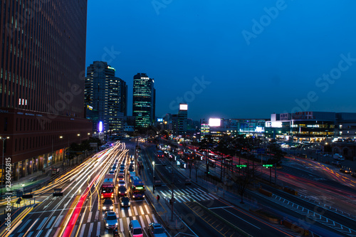 night city view long exposure from the pedestrian bridge near Seoul station
