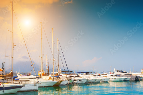 Beautiful sunset in the port of Kemer, Turkey. Summer landscape