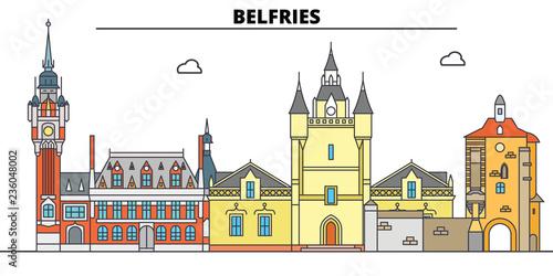 Belfries Of Belgium And France  line travel landmark, skyline vector design Fotobehang