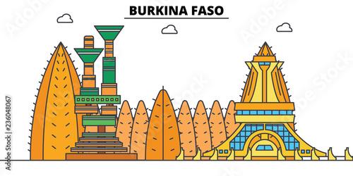 фотография  Burkina Faso line skyline vector illustration