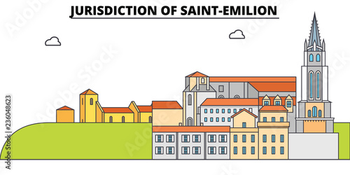 Photo Jurisdiction Of Saint-Emilion  line travel landmark, skyline vector design