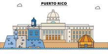Puerto Rico Line Skyline Vecto...