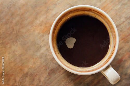 Canvas Prints Cafe Cup of Coffee on wooden in the morning. Top view