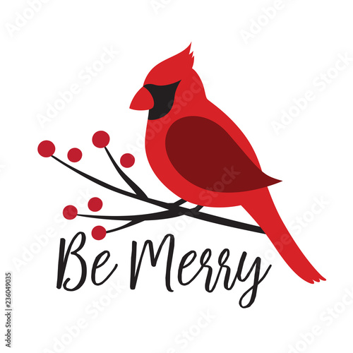 Red Cardinal bird on a winterberry branch vector illustration Wallpaper Mural