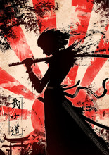 "A Young Samurai Girl With Katana The Characters Mean ""the Way Of The Warrior"" In Japanese"