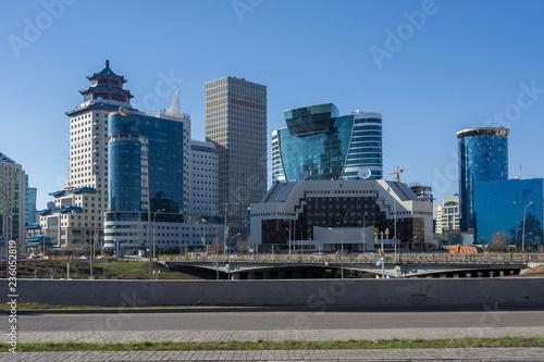 Spoed Foto op Canvas Stad gebouw Kazakhstan, Astana, View of city skyline
