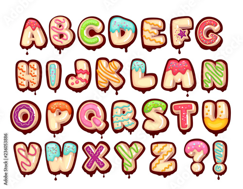 Sweet alphabet. Cartoon kids letters. Donut font Fototapet