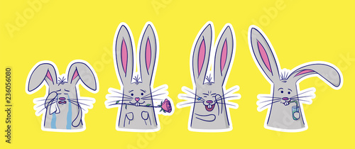 957d41014 Set of cute rabbits with different emotions. 4 stickers perfect for kid's  card, banners