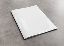 White Magazine Cover Mockup On Concrete 3d Rendering