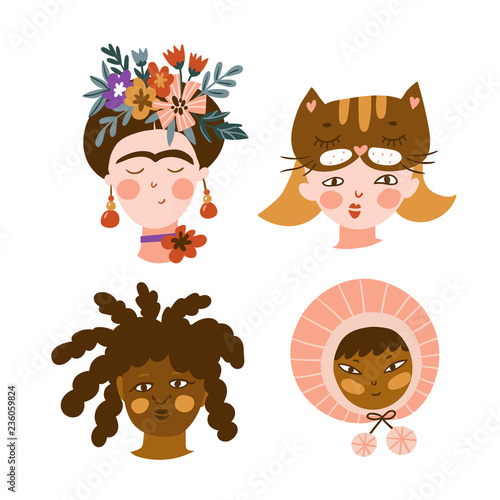 Set of girls of different nationalities and religions Canvas