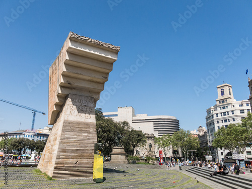 Catalonia Square, the center of the city and the most emblematic square in Barcelona, and monument to President of Catalonia, Francesc Macia.