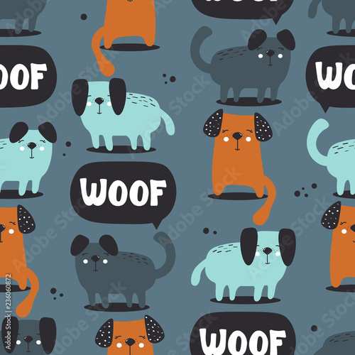 Happy dogs, hand drawn backdrop. Colorful seamless pattern with animals and text. Decorative cute wallpaper, good for printing. Overlapping background vector. Design illustration