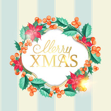 Merry Xmas Card With Badge For...