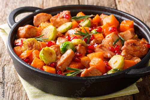 Delicious chicken cooked with vegetables and rosemary in pomegranate sauce close-up in a pan. horizontal