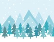Merry Christmas Landscape. Vector. Christmas card with trees and mountains