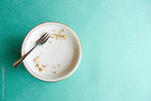 Stampa su Tela Empty plate with crumbs after eating on a green background