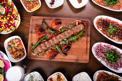 Adana Kebab Set Plate on Wooden Table with Ayran Canvas Print
