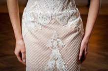 Beautiful White Wedding Dress With Embroidery Close-up Shot