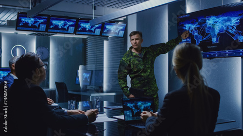 Fototapety, obrazy: High-Ranking Military Man holds a Briefing to a Team of Government Agents and Politicians, Shows Satellite Surveillance Footage.