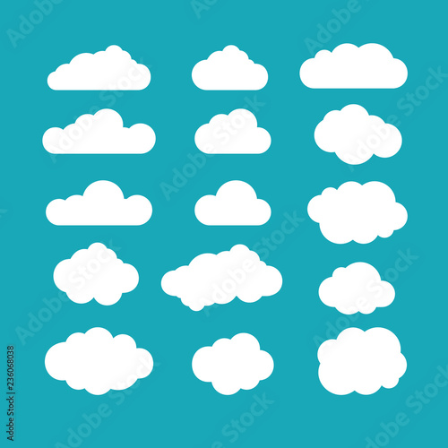 Poster Ciel Set of blue sky, clouds. Cloud icon, cloud shape. Set of different clouds. Collection of cloud icon, shape, label, symbol. Graphic element vector. Vector design element for logo, web and print.