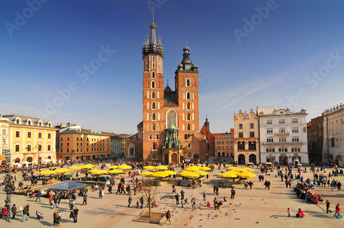Poland, Krakow, Main Market Square, St Mary Church.