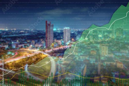 Keuken foto achterwand Stad gebouw Business candle stick graph chart of stock market investment trading on Cityscape background