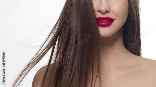 Close Up Of Woman S Lips With Fashion Bright Pink Make Up