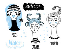 Zodiac Girls. The Water Element. Hand Drawn Colored Vector Set. Everything Is Isolated