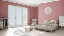 Colored Modern Pink And Beige Bedroom With Wooden Parquet Floor, Panoramic Window On Winter Landscape, Carpet, Armchair And Bed With Blanket And Pillows, Minimal Interior Design