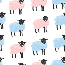 Hand Drawn Pink And Blue Sheep. Graphic Vector Seamless Pattern