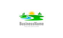 Landscape Logo - Sunrise River Vector Template