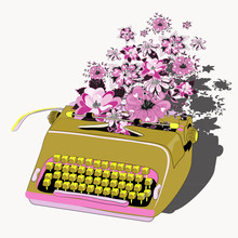 Golden Typewriter With Pink An...