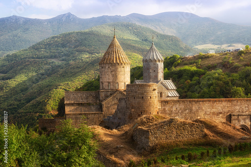 Ancient monastery in sunset. Tatev. Armenia Fototapeta
