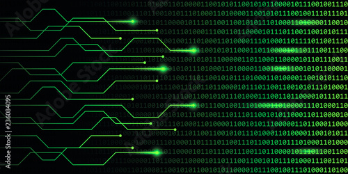 Fotografía  web digital technology green binary code communication vector illustration EPS10