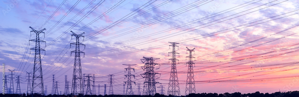 Fototapety, obrazy: high-voltage power lines at sunset,high voltage electric transmission tower