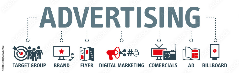 Fototapeta Advertising vector illustration concept with icons