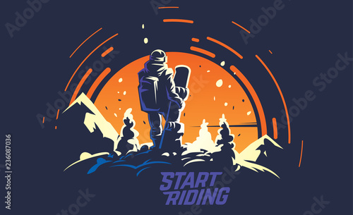 Obrazy Snowboard  back-view-of-male-snowboarder-standing-of-the-top-of-the-hill-opposite-the-big-sun-sports-vector-illustration