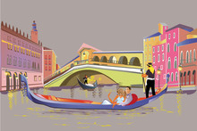 Romantic Couple In The Gondola Travels Along The Grand Canal In Italy. Colorful Travel Background Decorated With Golden Patterns. Hand Drawn Vector Background.