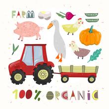 Farm Set. Hundred Percent Organic. Cartoon Vector Illustration