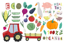 Big Farm Set. Cartoon Vector C...